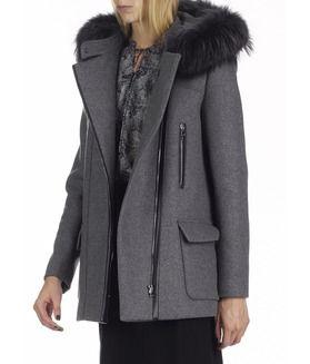 Manteau gris femme fourrure