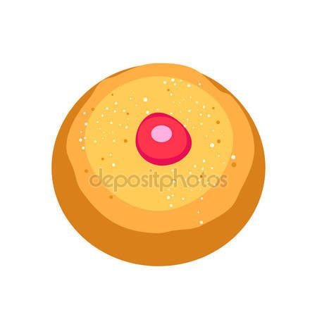 Download - Hanukkah Holiday donut greeting poster. Tasty donut with jam, symbol, isolated on white background. Hanukkah celebration sign concept, cookies sweet dessert icon traditional food for Hanukkah Holiday Israel, logo vector illustration, pattern — Stock Illustration #174142198