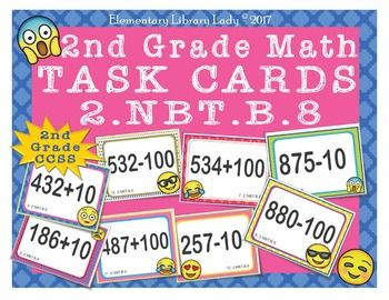 This is a set of 25 numbered (and repeated un-numbered) task cards with 25 different 2nd grade math problems, aligned to Common Core 2.NBT.B.8 and Florida MAFS.2.NBT.2.8. These problems switch between addition and subtraction within 20. An answer key, as well as a blank test sheet, are also provided, as well as two posters for