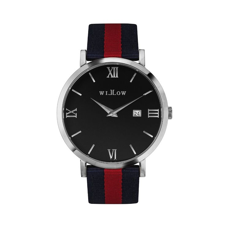 Treviso Silver Watch & Interchangeable Navy Blue & Red NATO Strap.