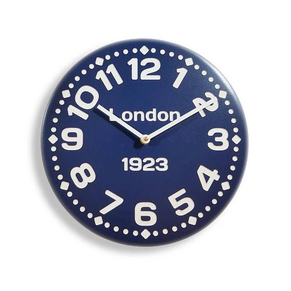 Wood wall clock. Contemporary clock. Personalized clock. Blue