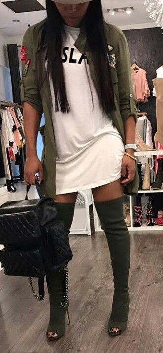 love the open toed boots #armygreen #fashion