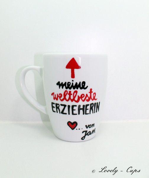 Geschenk für Erzieherin weltbeste Erzieherin Tasse von Lovely-Cups auf DaWanda.com