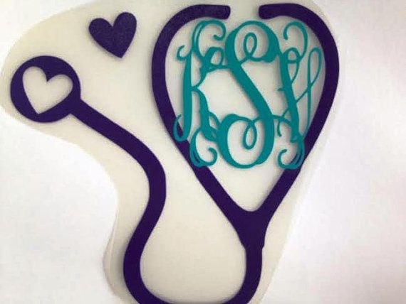 "Monogram and Stethoscope Car Decal 5.25"" Doctor Nurse RN PA Vinyl Sticker on Etsy, $8.50"