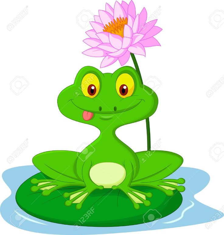 Historieta de la rana verde que se sienta en una hoja
