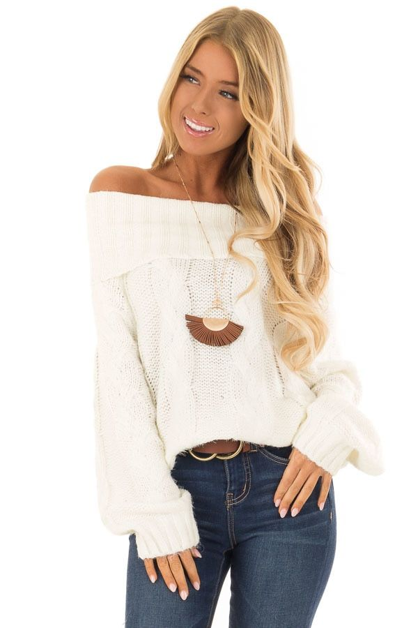 dfae66d673018f Ivory Off the Shoulder Long Sleeve Cable Knit Sweater front close up