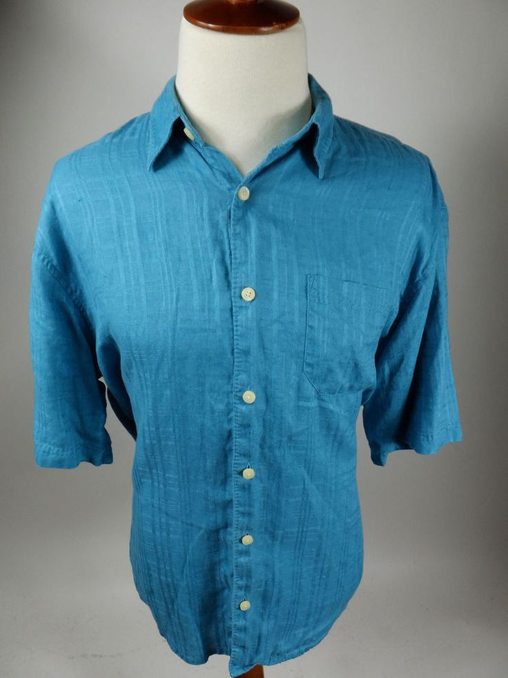 Tommy Bahama Teal Short Sleeve Button Front Linen Hawaiian Camp Shirt Men XL #TommyBahama #Hawaiian