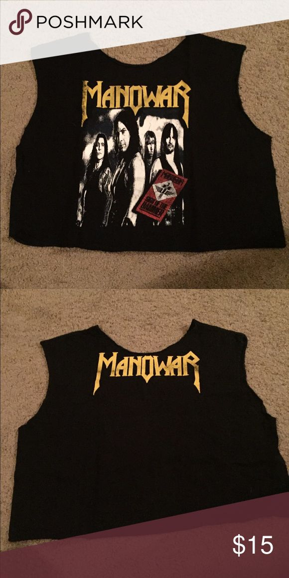 Manowar vintage cut up tank The kings of metal! Power metal band manowar. Cut from an extra large men's shirt. Looks cute oversized on a smaller person. Graphics are cracked from washing. Not too faded. EUC. Tops Tank Tops