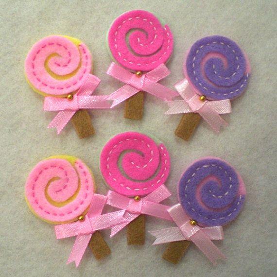 Lollipop fieltro Appliques - Juego de 6 Piezas