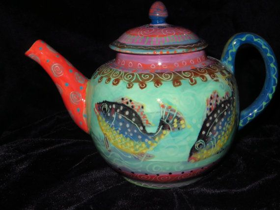 Handpainted teapot by Pamdesign, for sale at ETSY.