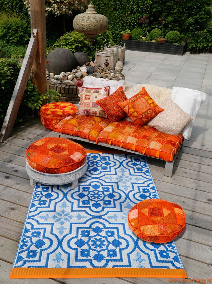 binnen & buiten vloerkleed blauw witte mediterraanse tegelprint - meerdere maten