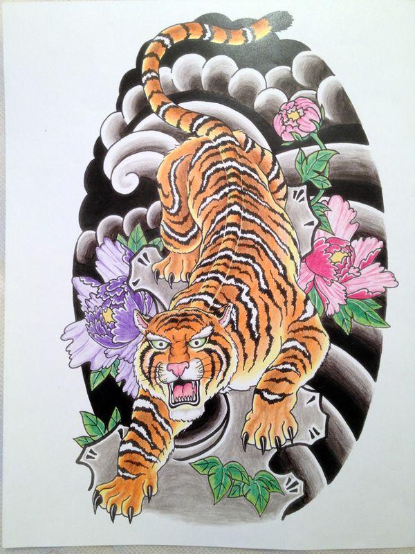 Japanese tiger by Robert Hutchinson, via Behance