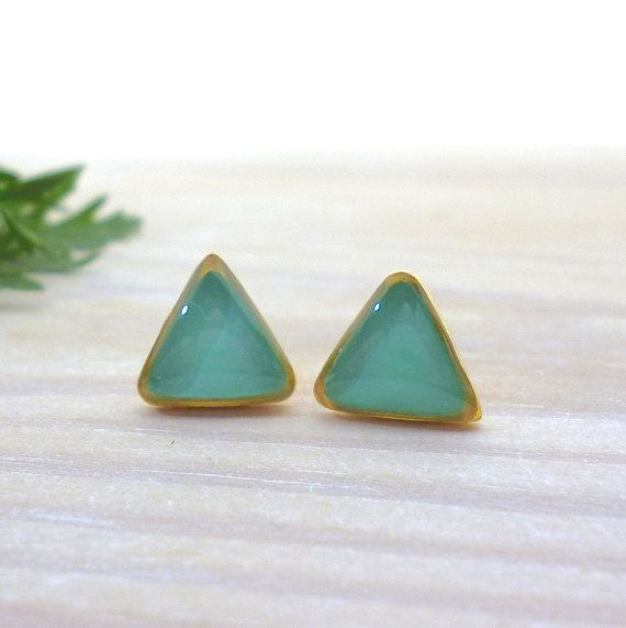 Hey, I found this really awesome Etsy listing at https://www.etsy.com/listing/269998857/triangle-stud-earrings-turquoise