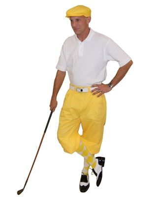 Yellow Cap and Knickers paired with Yellow/White/Yellow argyle socks and a white polo make the perfect casual men's complete golf knickers outfit.
