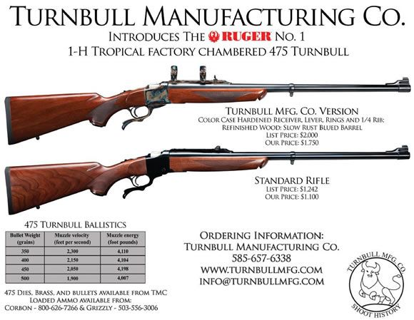 Turnbull Custom Ruger 1H Tropical 475 Turnbull Number 1 ...