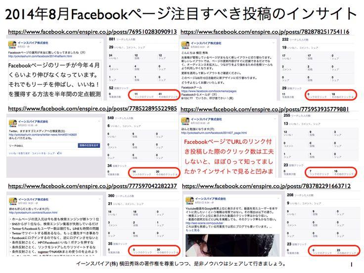 2014年8月度Facebookページ投稿いいね数ランキング20 http://yokotashurin.com/facebook/201408_page.html