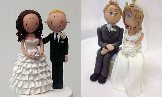 bride and groom cake toppers wedding cake toppers by Handi's Cakes left and by Karen Davies right