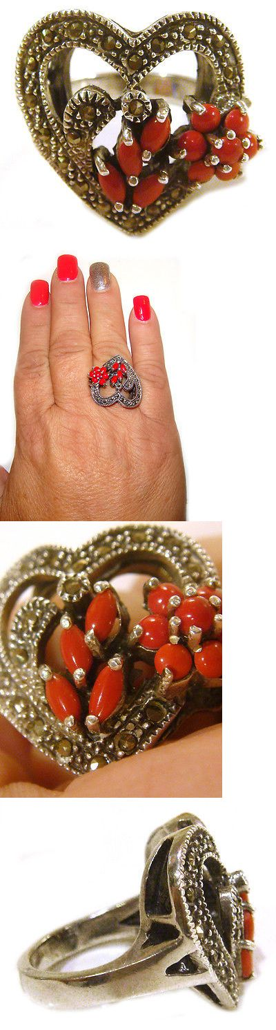 Rings 98493: Taxco Mexico .925 Sterling Silver Heart Coral Ring With Marcasite Size 10 BUY IT NOW ONLY: $159.0