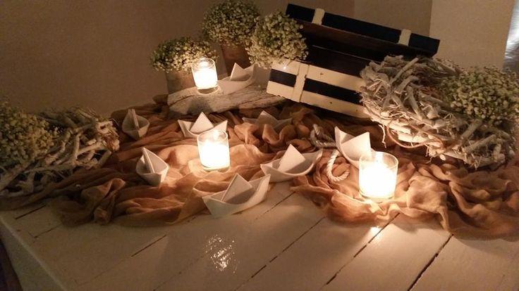 Διακόσμηση γάμου στην Βάρκιζα με θαλασσινά στοιχεία. Δημιουργίες Vourlos Confetti www.vourlos.com