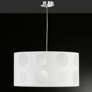 Hängeleuchte in Chrom mit weißem Stoffschirm und runden Dekorationen