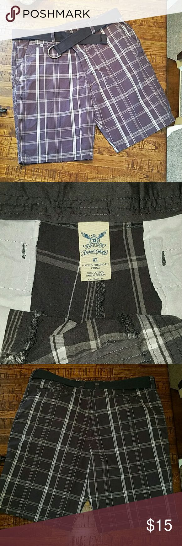 Men's plaid shorts with belt Men's dark grey plaid shorts with fabric black belt. Worn once. Faded Glory Shorts Flat Front