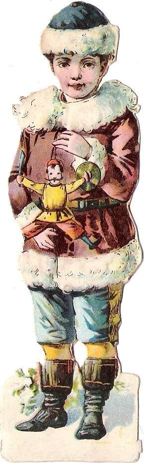 Oblaten Glanzbild scrap die cut chromo Winter Kind 12cm Puppe doll Kasperl boy