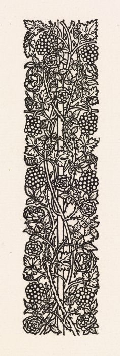 Wood Engraving - Love is Enough - upright Border or Sidepiece with Roses and Vines with Bunches of Grapes entwined around a Pole - This design was intended for use with William Morris' metrical romance 'Love is Enough', which dates from 1871-72. Morris designed & cut the pattern himself. - Birmingham Museums