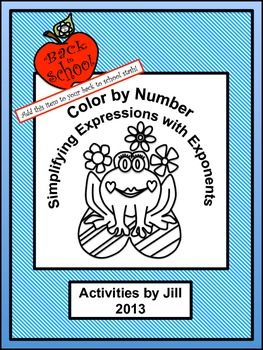 Need a different sort of assignment for a change of pace? Middle and high school students enjoy color by number worksheets. Maybe this is because they don't get to color much after elementary school? If you've never used this type of assignment before, give it a try!  In this activity students will simplify 15 expressions with exponents. Students will use simple exponent rules and the order of operations and will focus on using both positive and negative bases correctly.  CCSS 8.EE CCSS N-RN