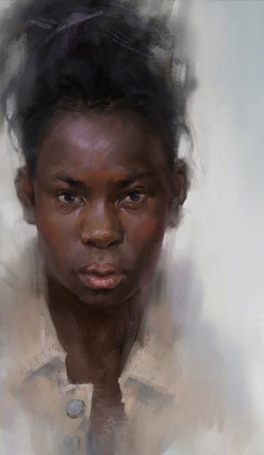 Artist: Zhang Lu {african-american black woman girl digital portrait painting}