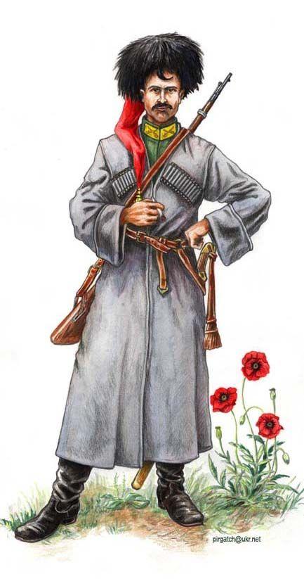 Kozak sotni kawaleryjskiej 3 Pułku Hajdamackiego, 1919. ~ White Army