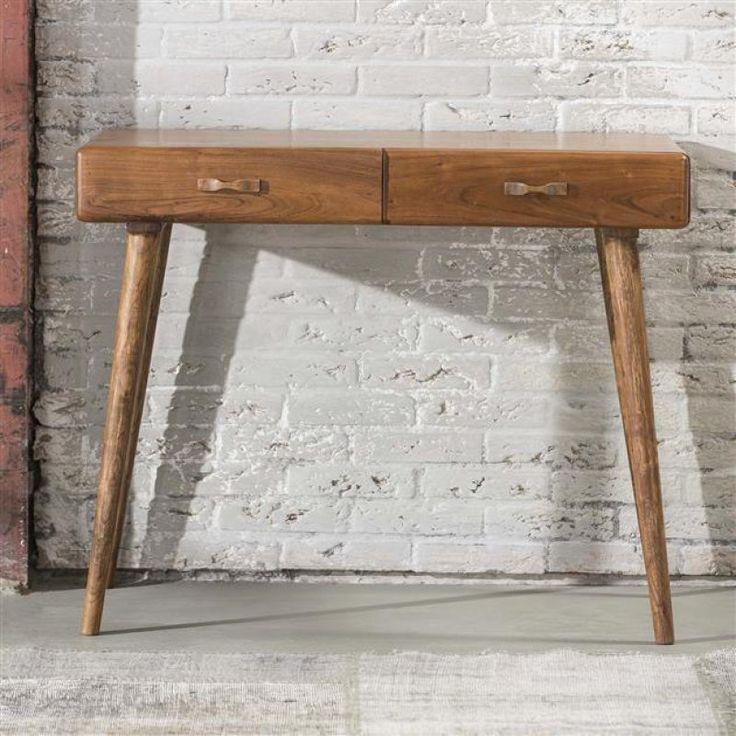 Dit bureau 'Cult' is uitgevoerd in acaciahout met houten taps toelopende poten. Deze fraaie tafel heeft 2 lades met ruimte voor allerhande losliggende spullen. Dit bureau behoort tot de Cult-serie waarin tevens een salontafel en bergmeubels verkrijgbaar is.