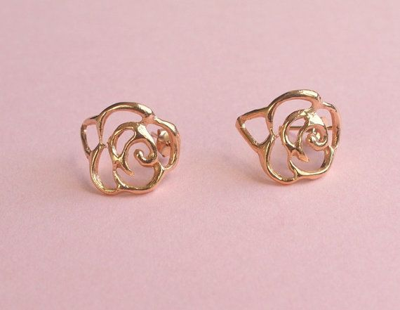 rose gold flower earrings. but make your own out of wire, and maybe spray paint...