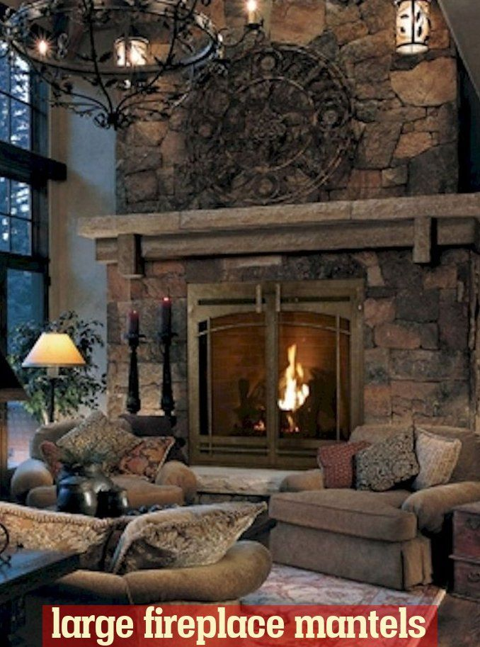 Big Stone Fireplace Large Mantel Nice Stones Yes Please In 2020