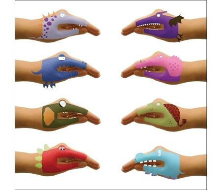 Dinosaur hand puppet tattoos s 39 s dinosaur b day party for Temporary tattoos kids