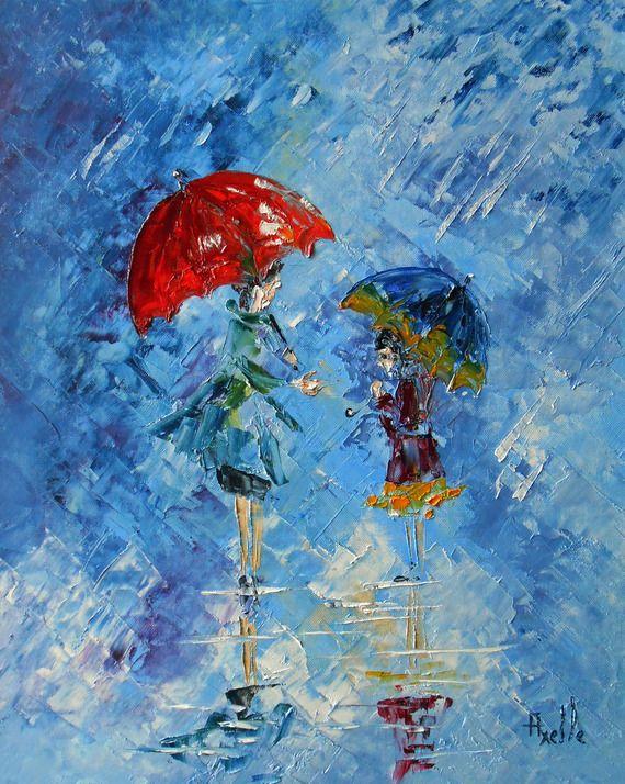 Tableau  Parapluie La main tendue  - peintures-axelle-bosler