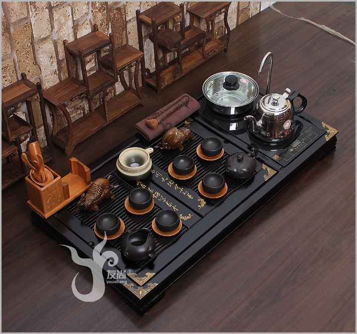 Chinese tea set China's high-grade solid wood tea tray Oriental tea service 30s
