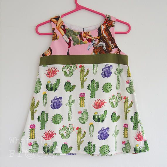 Girls A Line Dress Pink Cowgirls and Cactus Size 2 years