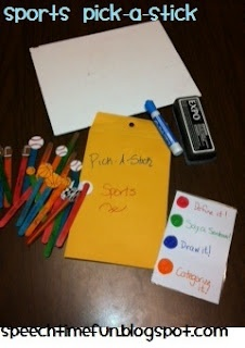 Sports Pick-A-Stick: An easy and quick DIY lesson plan to work on building and expanding vocabulary!  Ways to incorporate EET also included!  From Speech Time Fun!