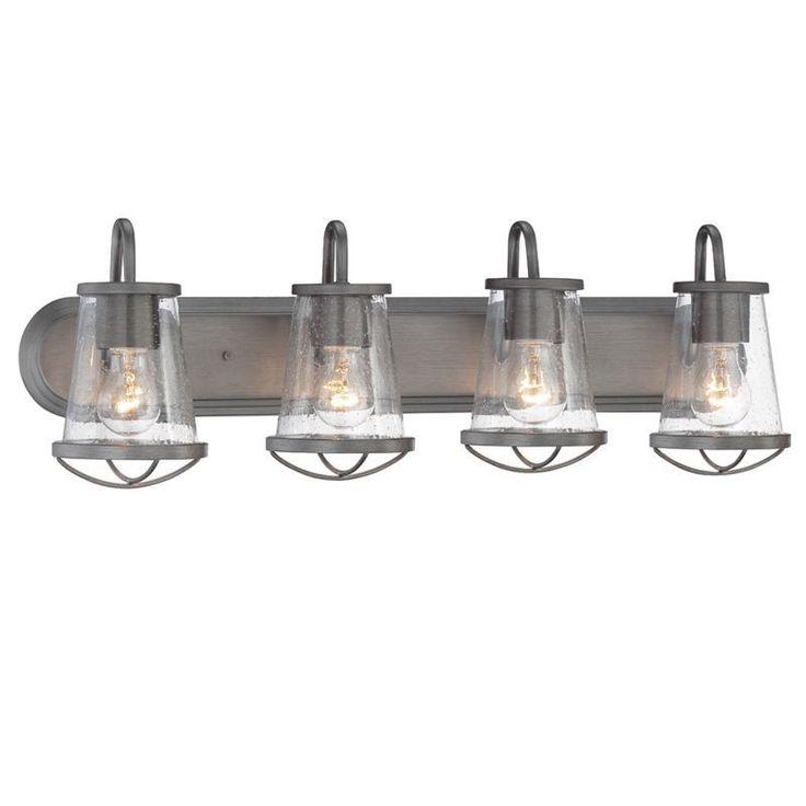 """Designers Fountain 87004 Darby 4 Light 30"""" Wide Bathroom Vanity Strip Light with Weathered Iron Indoor Lighting Bathroom Fixtures Vanity Strip"""