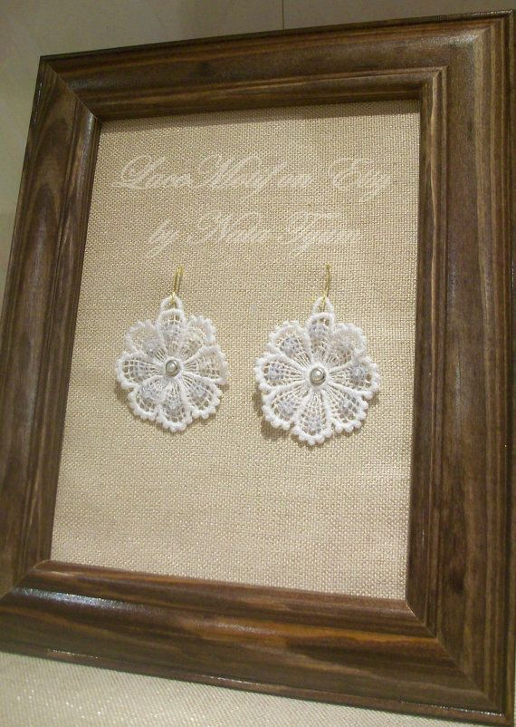 White embroidered Lace Earrings whith beads and by LaceMotif, $12.95