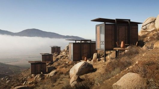 Luxury eco-hotel sits on a hillside, overlooking the Valle de Guadalupe in Mexico
