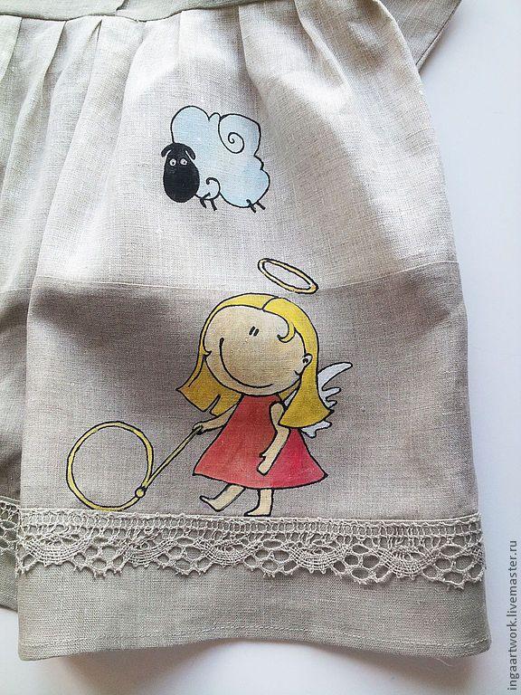 """Купить """"Игры"""" Ручная роспись. - серый, лен, льняное платье, ручная роспись, детское платье"""