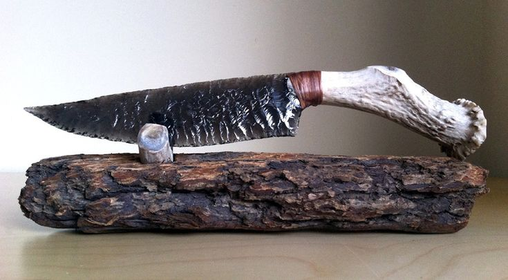 Transparent Obsidian Knife with Deer Antler Handle