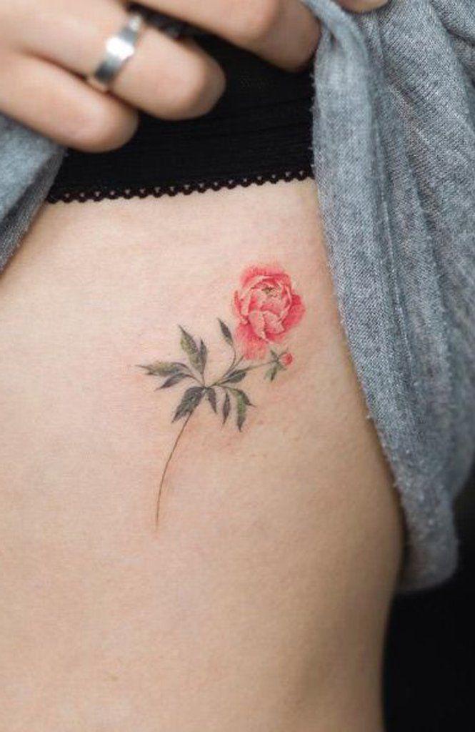 Small Minimalist Coral Rib Rose Tattoo Ideas For Women Www Mybodiart Com Flower Tattoo Delicate Flower Tattoo Small Rose Tattoo