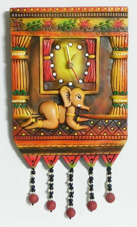 Battery Operated Wall Clock in a Decorated Terracotta Plate with Baby Ganesha - Wall Hanging (Terracotta))