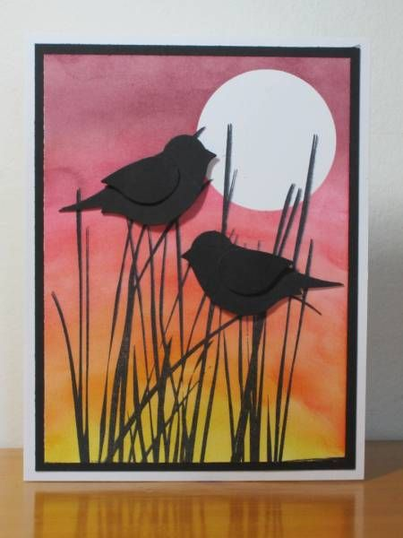 Silhouette Birds...two-step birds on sponged sunset...