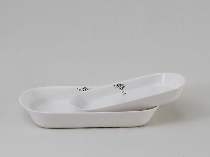 Fuentes rectangulares bajas - blancas deco margaritas