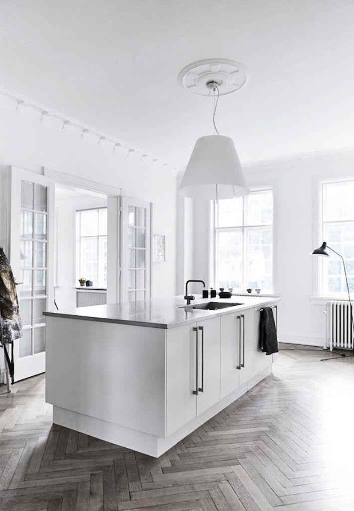 White kitchen, Herringbone Floors, Mantis lamp