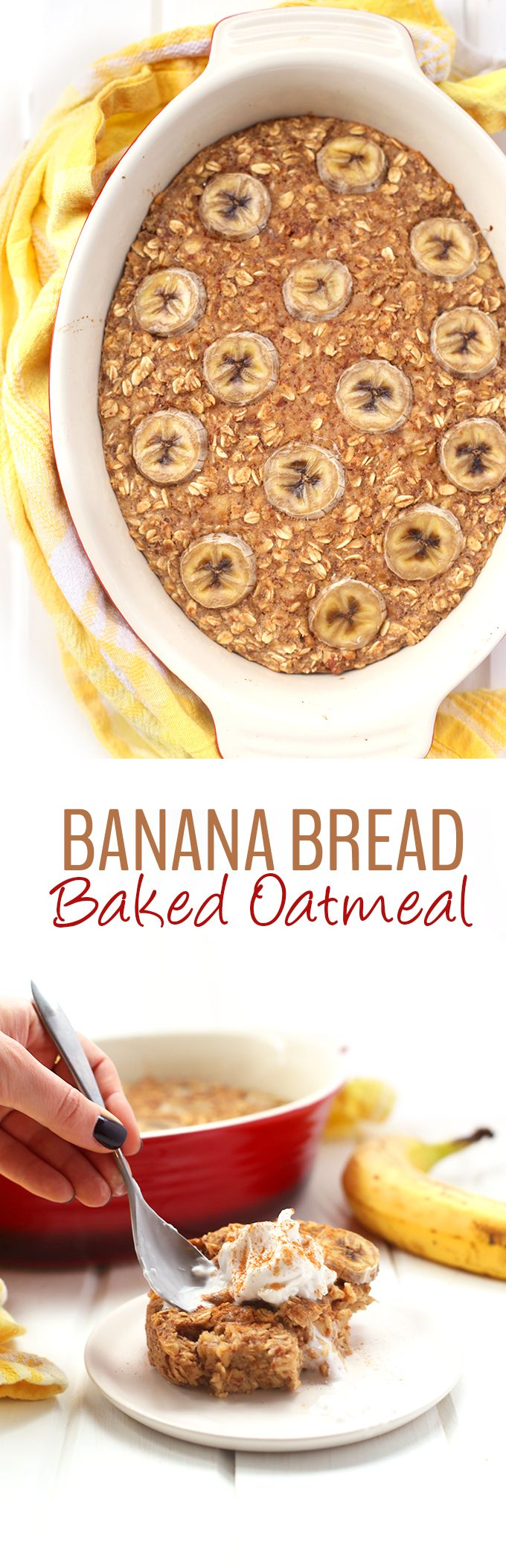 A delicious recipe for Banana Bread Baked Oatmeal that is vegan and gluten-free and packed-full of fiber. An easy weekday breakfast or weekend brunch recipe to serve a crowd.