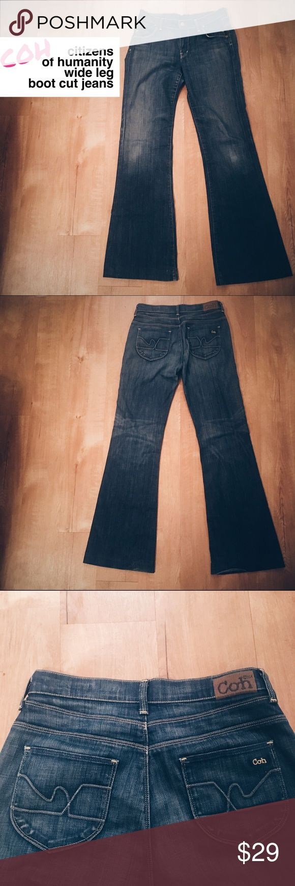 ⚡️Flash Sale⚡️Citizens of Humanity Bootcut Jeans Super cute COH Citizens of Humanity wide leg bootcut jeans. They are used and do show signs of wear at the bottom of the legs and slight fading at knees (see picture). Otherwise in good condition. Feel free to ask questions or make an offer! Citizens of Humanity Jeans Boot Cut